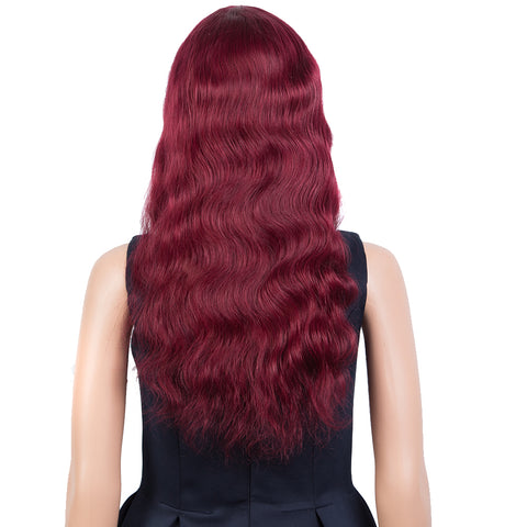 Rebecca Fashion Hightlight Red Body Wave Human Hair Wigs with Bangs 100% High-quality Human Hair Wig with Bangs for Black Women 130% Density