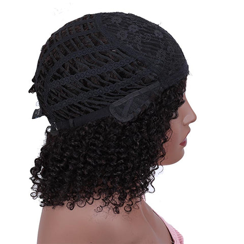 Short Curly Wig 100% Human Hair Kinky Curly Wigs For Black Women