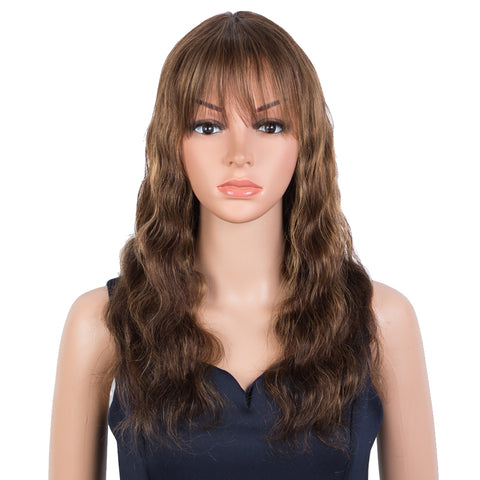 Rebecca Fashion Hightlight Brown Body Wave Human Hair Wigs with Bangs 100% High-quality Human Hair Wig with Bangs for Black Women 130% Density
