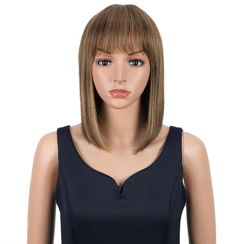Rebecca Fashion Ombre Colors Wig Straight Human Hair Wigs With Bangs 10 Inch