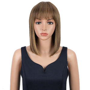 Piano Colors Wig Straight Human Hair Wigs With Bangs 10 Inch