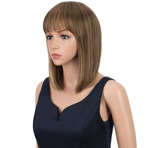 Image of Piano Colors Wig Straight Human Hair Wigs With Bangs 10 Inch