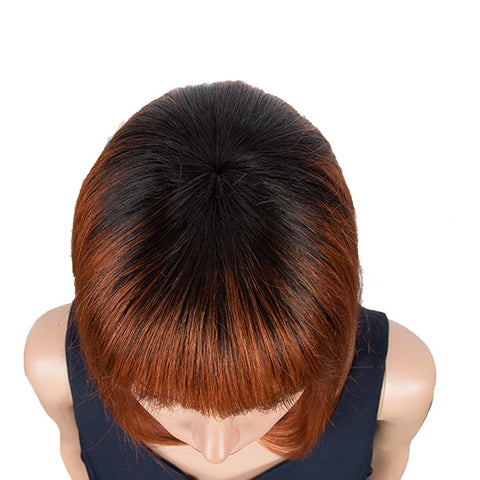 Image of Brown Red Auburn Ombre Straight Wig With Bangs 10Inch Short Bob Wigs