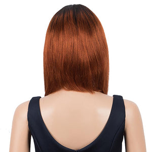 Brown Red Auburn Ombre Straight Wig With Bangs 10Inch Short Bob Wigs