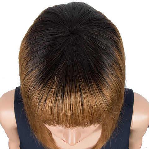 Image of Brown And Black Ombre Human Hair Wigs Short Bob Wig With Bangs