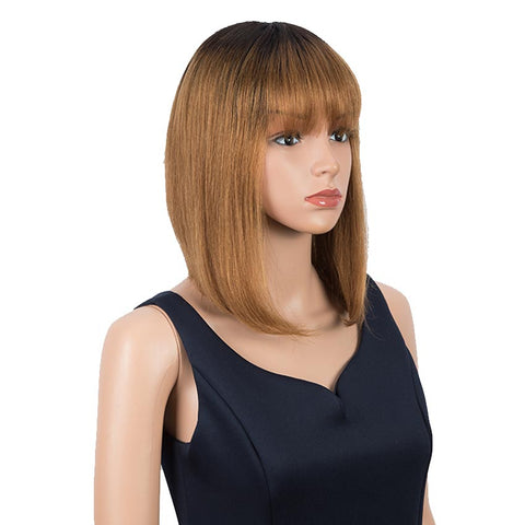 Brown And Black Ombre Human Hair Wigs Short Bob Wig With Bangs