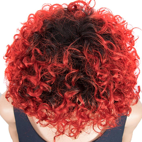Image of Short Red Ombre Wigs With Bangs Loose Curly Human Hair Pixie Wigs
