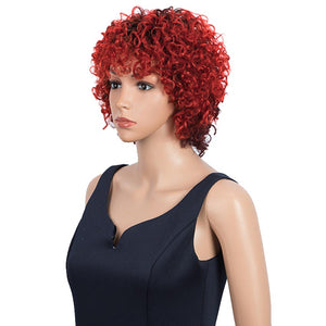 Short Red Ombre Wigs With Bangs Loose Curly Human Hair Pixie Wigs