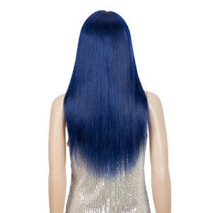 Blue Wig Human Hair No-lace Wigs With Bangs For Women