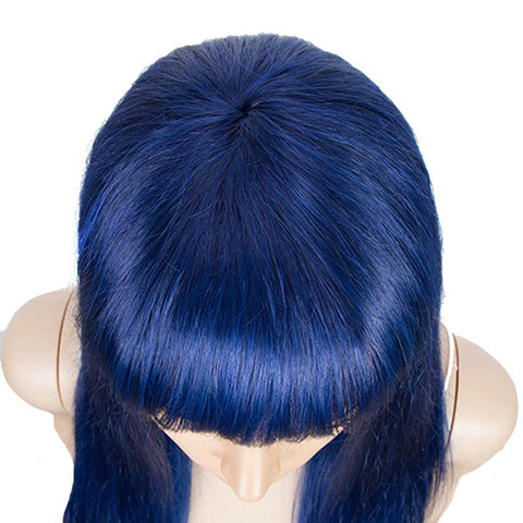Image of Blue Wig Human Hair No-lace Wigs With Bangs For Women