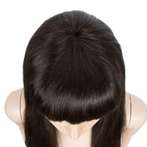 Image of Human Hair Straight Hair Colored Wigs Basic Wigs With Bangs For Women