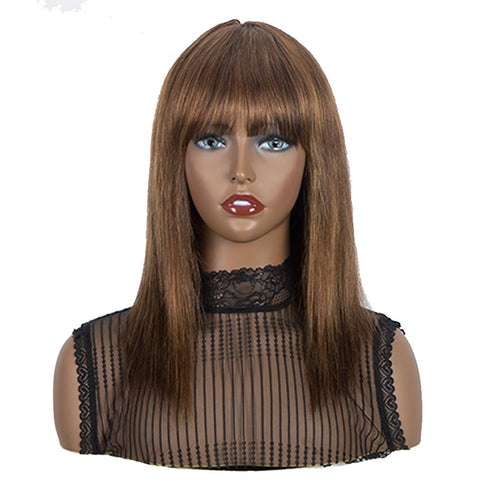Wig With Bangs Human Hair Brown Color Wigs Straight Hair Basic Cap Wig