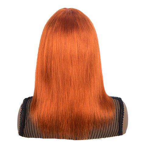 Image of Orange Wigs Human Hair Straight Hair Wigs With Bangs For Women