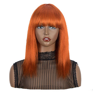 Rebecca Fashion Orange Wigs Straight Human Hair Wigs With Bangs For Women