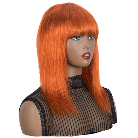Orange Wigs Human Hair Straight Hair Wigs With Bangs For Women