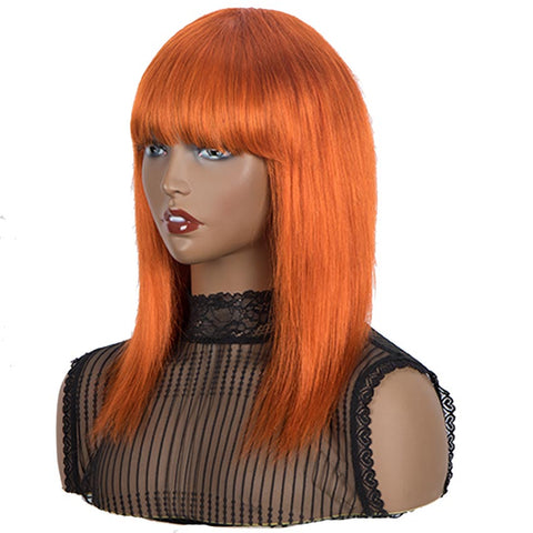 Image of Rebecca Fashion Orange Wigs Straight Human Hair Wigs With Bangs For Women