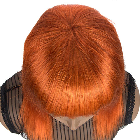Orange Wigs Straight Human Hair Wigs With Bangs For Women