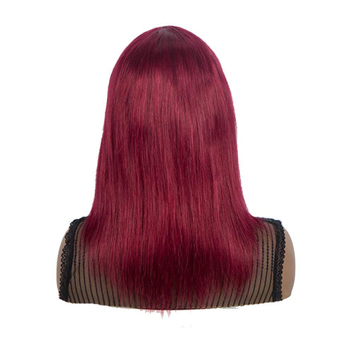 Burgundy Red Straight Human Hair Wigs With Bangs Basic Cap Wigs
