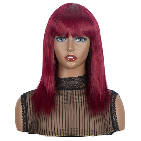 Image of Straight Human Hair Burgundy Wigs Basic Cap Wig With Bangs 99J Color
