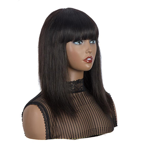 Natural Color Wig Long Straight Hair Wigs With Bangs Human Hair