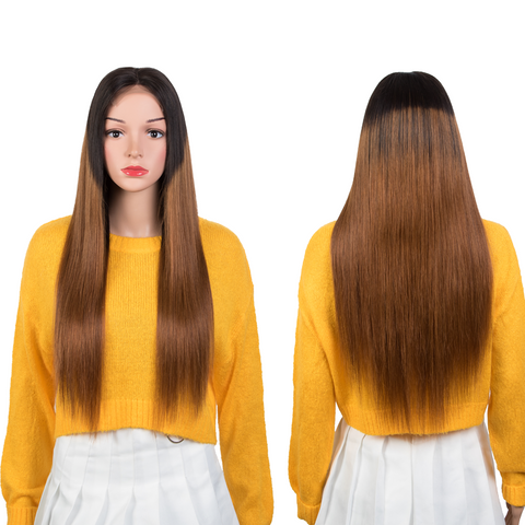 Image of Straight Human Hair Wigs 4x4 Lace Closure Wigs 150% Density Ombre Brown Color