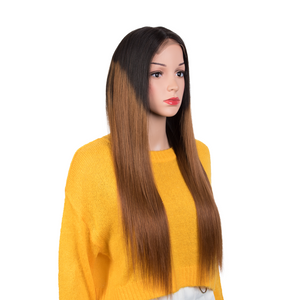 Rebecca Fashion 100% Hight-quality Virgin Human Hair Wigs 4x4 Lace Closure Wigs Straight Human Hair 150% Density Ombre Brown Color