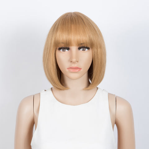 Image of Straight Bob Wigs With Bangs Human Hair