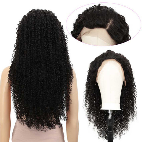 Image of 13x4 Lace Front Wigs Kinky Curly Human Hair 180% Density Natural Black Color