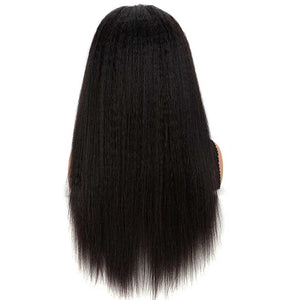 13x4 Lace Front Wigs Kinky Straight Human Hair 180% Density Natural Black Color