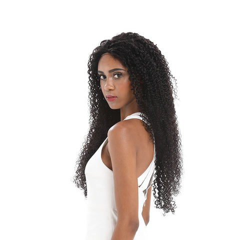 Image of Rebecca Fashion 13x4 Lace Frontal Wigs Kinky Curly 100% Human Hair 180% Density Natural Black Color