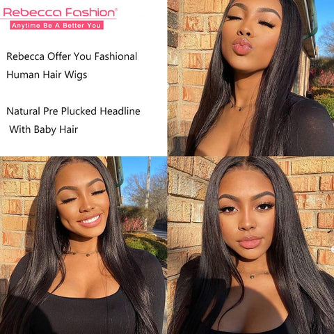 Image of Rebecca Fashion 13x4 Lace Frontal Wigs 100% Straight Human Hair Wigs 150% Density Natural Black Color