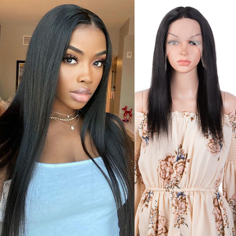 Rebecca Fashion T Part 13x4x1 HD Lace Front Wigs 100% Human Hair Straight Wigs For Women Middle Part Lace Wigs 150% Density Natural Black Color