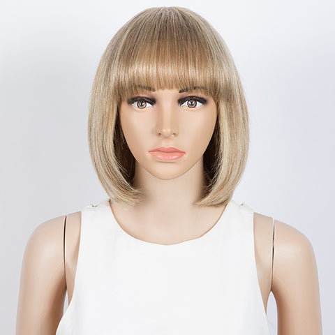 Straight Bob Wigs With Bangs Human Hair 10 inch Wigs