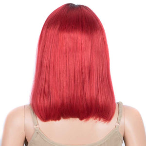 Red Straight Wig 12 Inch Bob Wigs Part Lace Human Hair