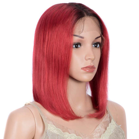 Image of Red Straight Wig 12 Inch Bob Wigs Part Lace Human Hair