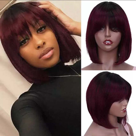 T1B/99J Short Bob Wig Straight Hair Wigs With Bangs For Sale
