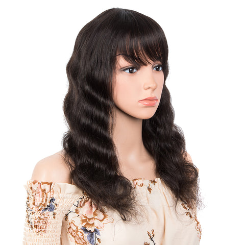 Human Hair Wig with Bangs Natural Color Wigs for Women