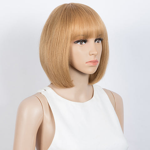 Straight Bob Wigs With Bangs Human Hair Ombre Colors