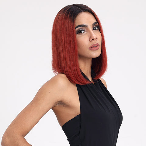 Rebecca Fashion Straight Bob Wig 12 Inch Ombre Wigs With Middle Part