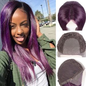 "Rebecca Fashion 4""x4"" HD Lace Closure Wigs Purple Color 100% Hight-qualight Human Hair Wigs 150% Density"
