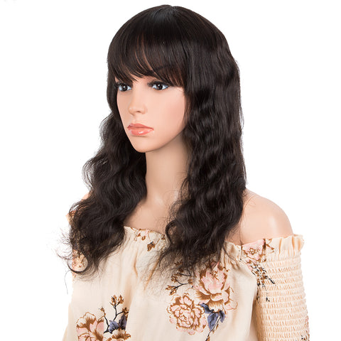 Image of Human Hair Wig with Bangs Natural Color Wigs for Women