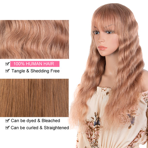 Image of Rebecca Fashion Hightlight Pink Body Wave Human Hair Wigs with Bangs 100% High-quality Human Hair Wig with Bangs for Black Women 130% Density