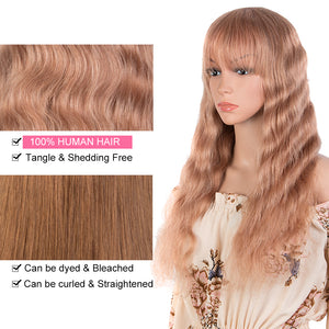 Rebecca Fashion Hightlight Pink Body Wave Human Hair Wigs with Bangs 100% High-quality Human Hair Wig with Bangs for Black Women 130% Density