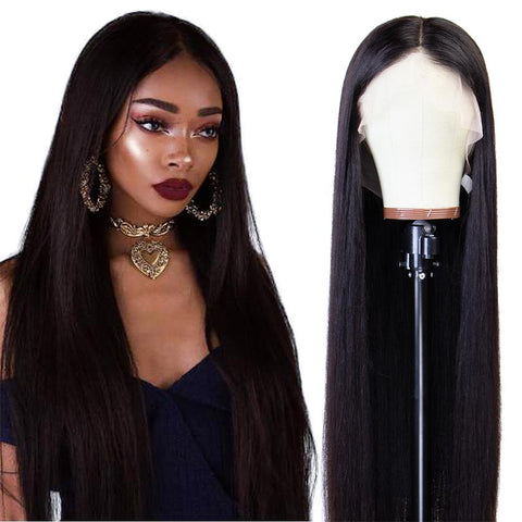 Rebecca Fashion 360 Lace Frontal Wigs 100% Straight Human Hair Wigs For Black Women 150% Density Natural Black Color
