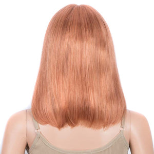 Orange Bob Wig 12 Inch Human Hair Part Lace Wig