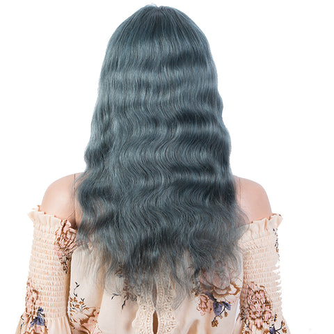Rebecca Fashion Hightlight Blue Body Wave Human Hair Wigs with Bangs 100% High-quality Human Hair Wig with Bangs for Black Women 130% Density