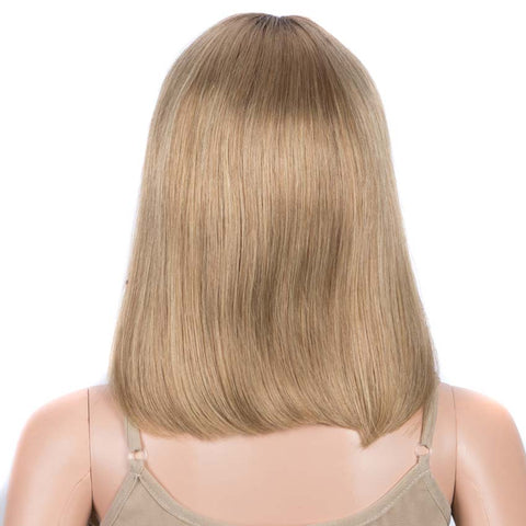 Brown Blond Highlights Bob Wig 12 Inch Part Lace Human Hair Wig