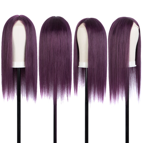 "Rebecca Fashion 100% Straight Human Hair Wigs HD Lace Front with 4""x4"" Simulated Scalp Wigs Purple Color 150% Density"