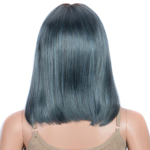 Straight Bob Wigs 12 Inch Part Lace Human Hair Blue Wigs