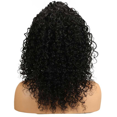 4x4 Lace Front Wigs Kinky Curly Human Hair Wigs 150% Density Natural Black Color